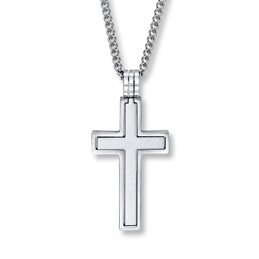 s cross necklace stainless steel 24 inch length