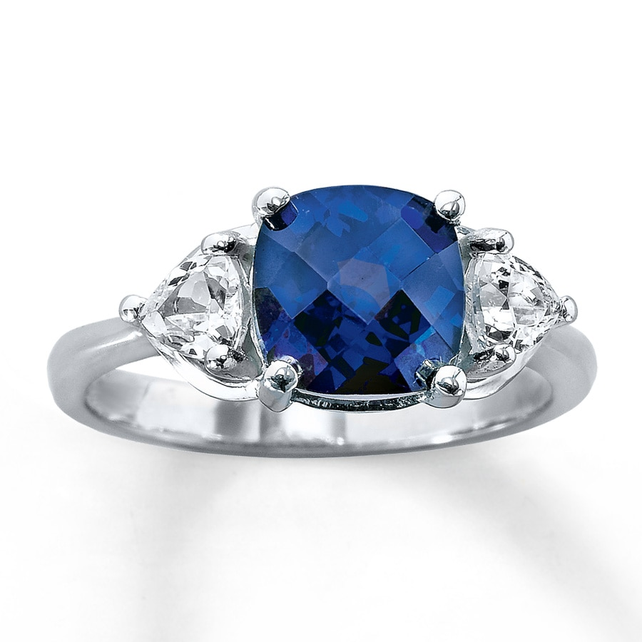 silver cocktail lajerrio sapphire cut cushion jewelry ring sterling