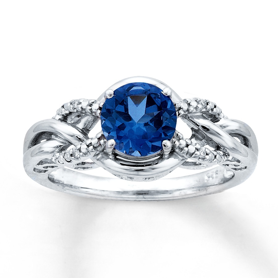 lab created sapphire ring accents sterling