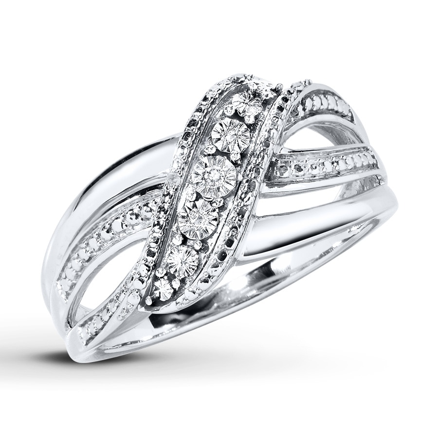 diamond ring sterling silver - Sterling Silver Diamond Wedding Rings