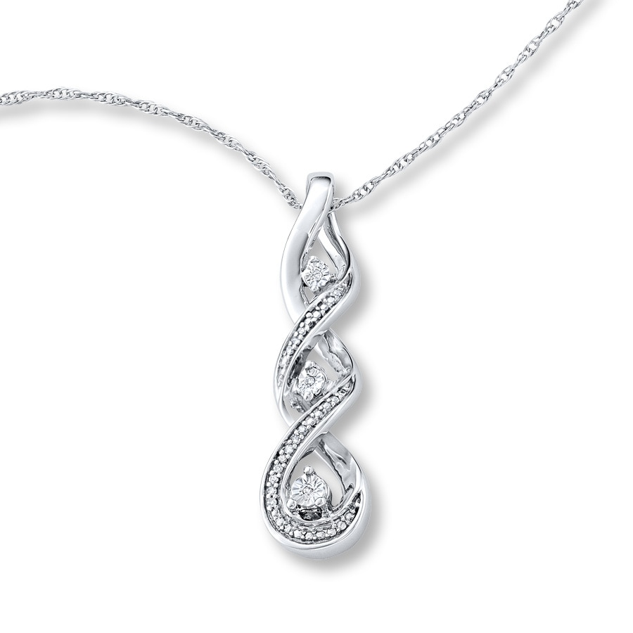 jewelers heart tw kay ct diamond open silver diamonds key sterling necklace hearts l