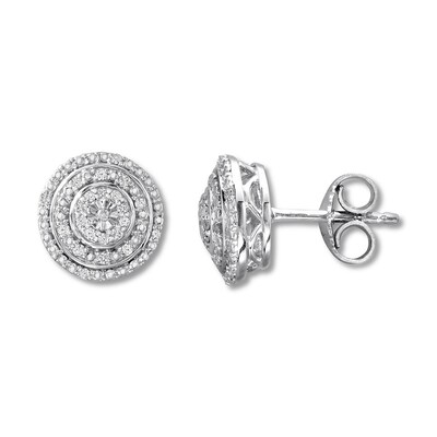Diamond Stud Earrings Sterling Silver