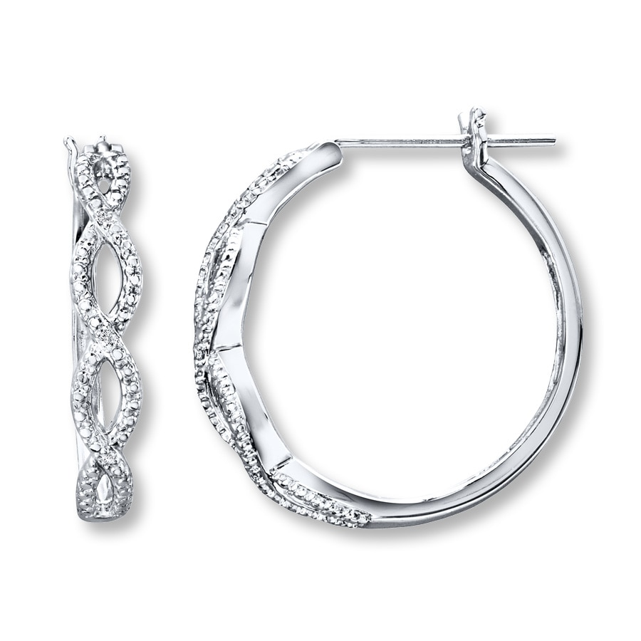 Diamond Hoop Earrings Sterling Silver