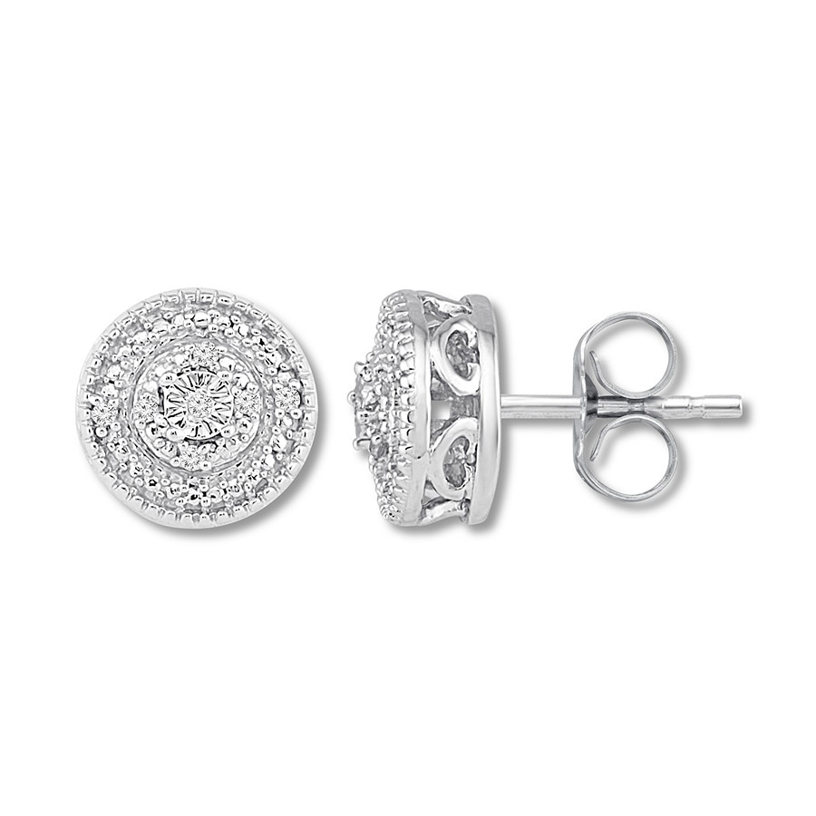 Diamond Circle Earrings Sterling Silver Tap To Expand