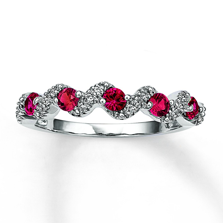 lab created ruby ring 1 20 ct tw diamonds 10k white gold
