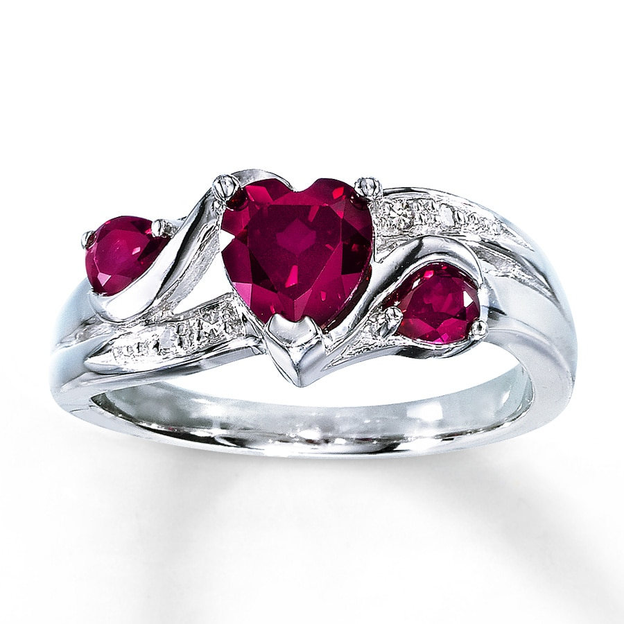 lab created ruby ring cut with diamonds