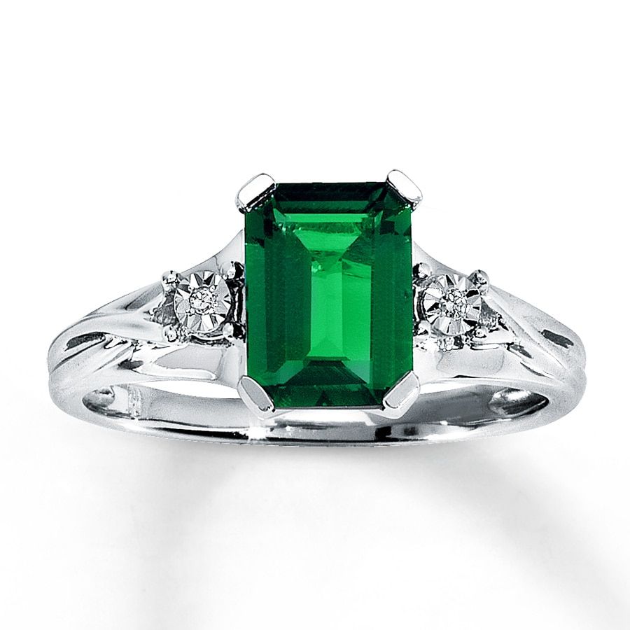 lab created emerald ring accents 10k white gold