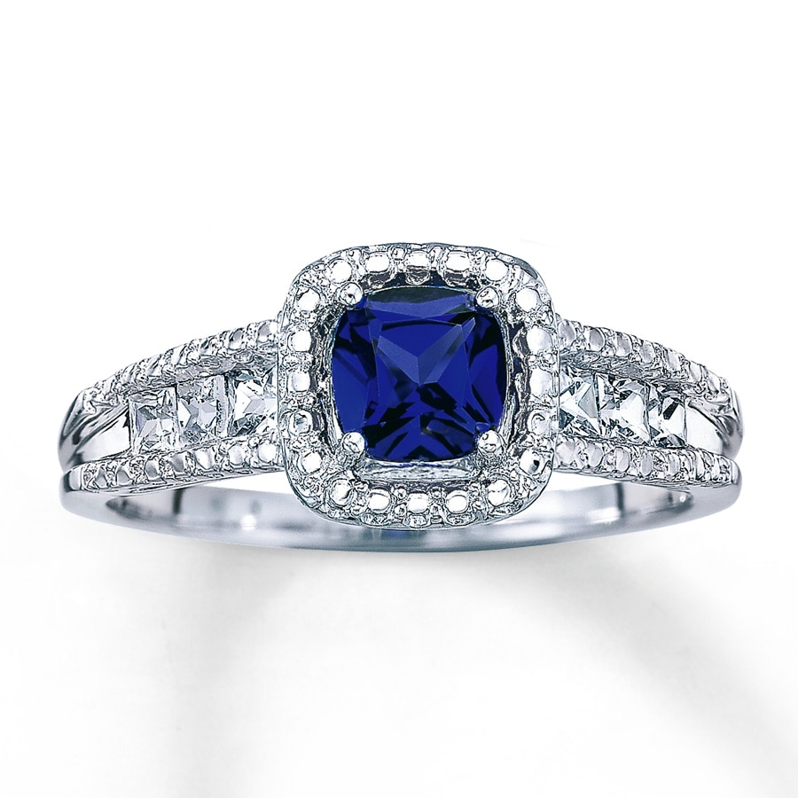 lab created sapphire ring cushion cut sterling silver