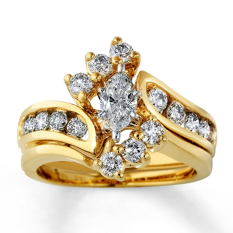 Kay Diamond Bridal Set 1 1 2 Ct Tw Marquise Cut 14K Yellow Gold
