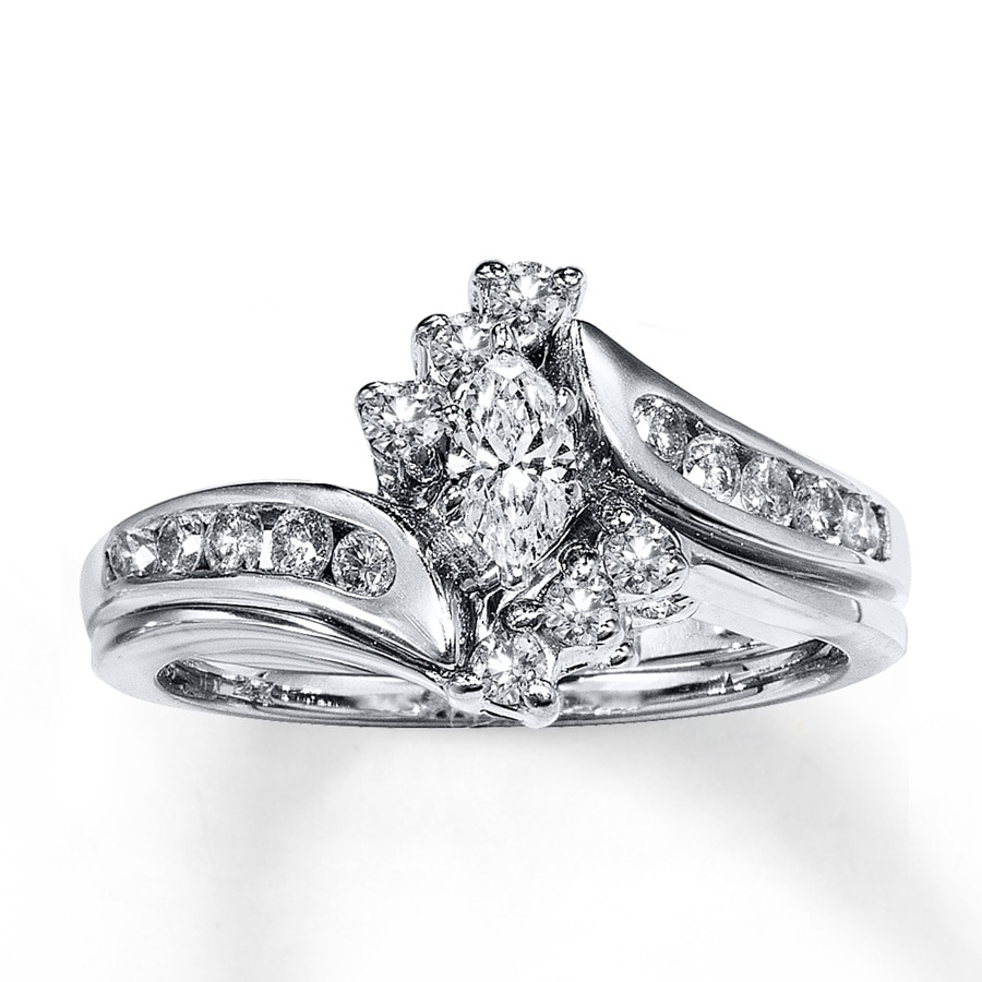 Kay Diamond Bridal Set 1 2 ct tw Marquise Cut 14K White Gold