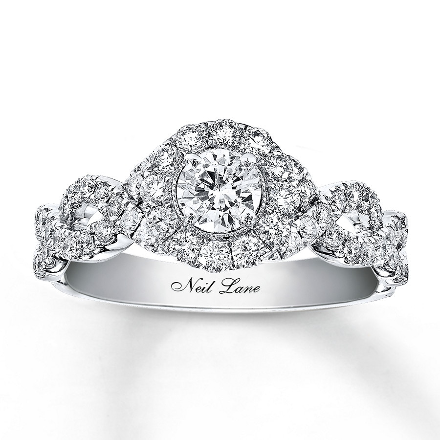 engagement three stone en mv ct ring cut white princess gold tw diamond pd kay rings kaystore jewelers