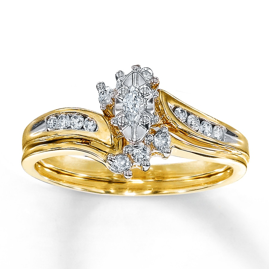 Kay Diamond Bridal Set 1 4 ct tw Marquise cut 10K Yellow Gold