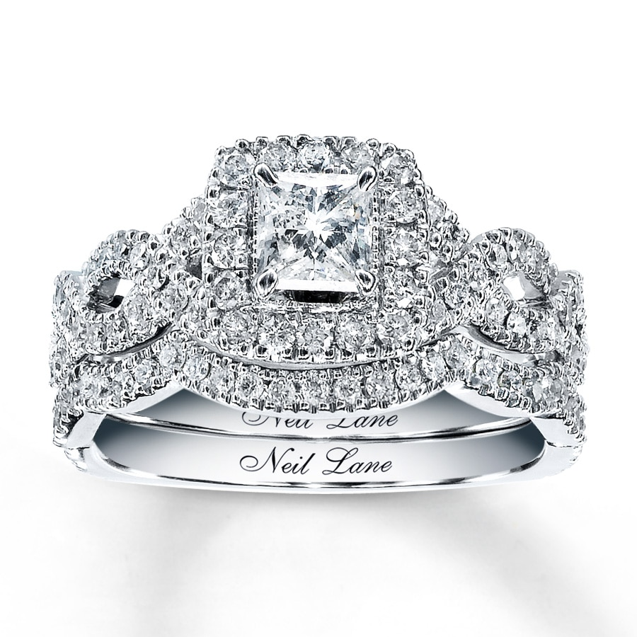 kay - neil lane bridal set 1-1/6 ct tw diamonds 14k white gold