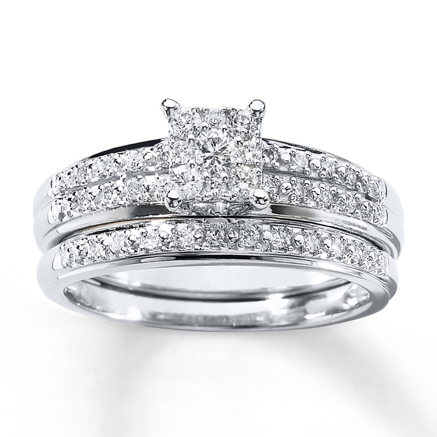 White Gold Wedding Sets: Diamond Bridal Set 1/3 Ct Tw Round-cut 10K White Gold