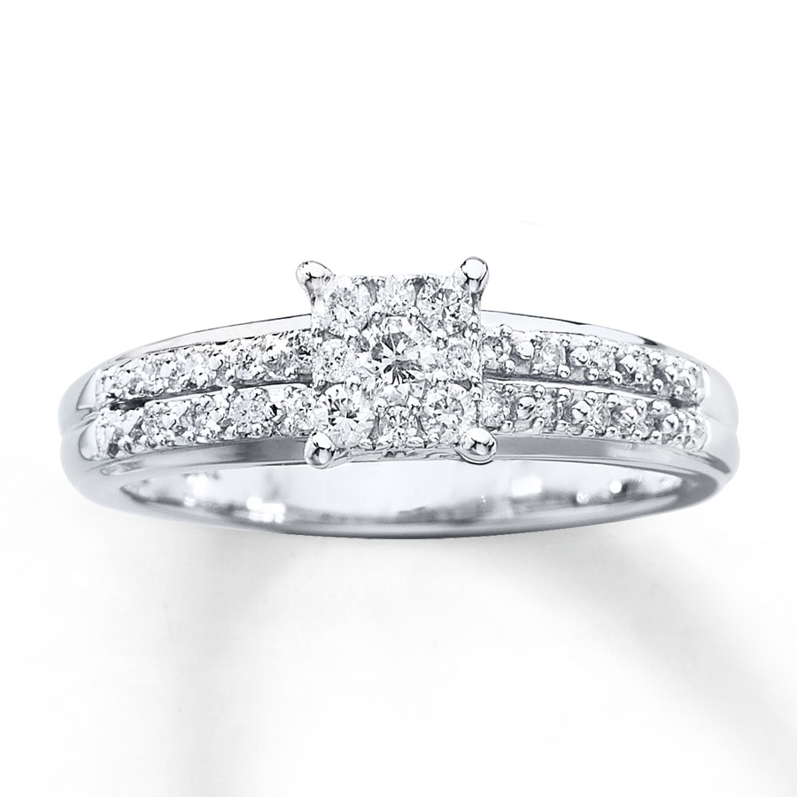 Kay Diamond Engagement Ring 1 4 ct tw Round cut 10K White Gold