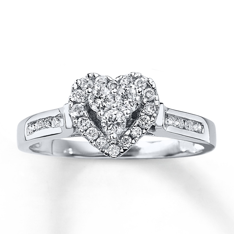 kay - diamond engagement ring 3/8 ct tw round-cut 10k white gold