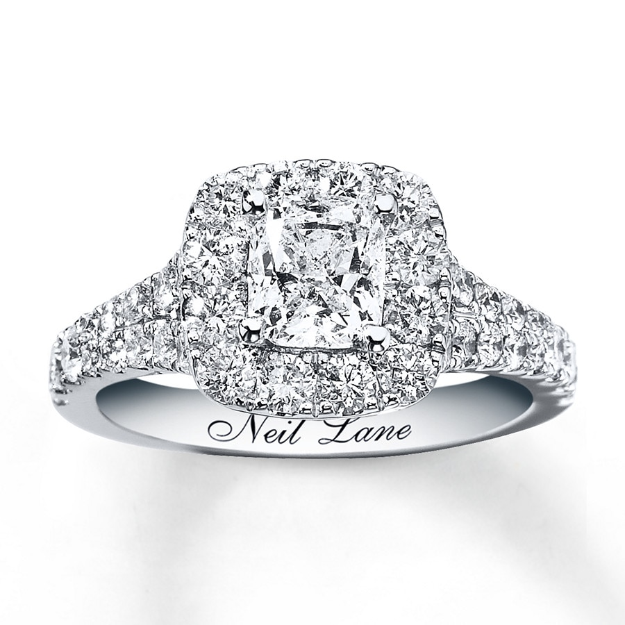 kay - neil lane engagement ring 2-1/6 ct tw diamonds 14k white gold