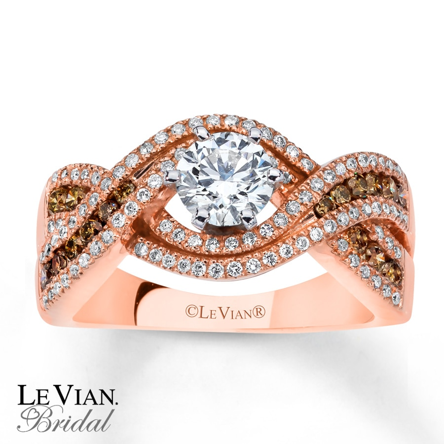 Kay Le Vian Engagement Ring Chocolate Diamonds 14K Strawberry Gold