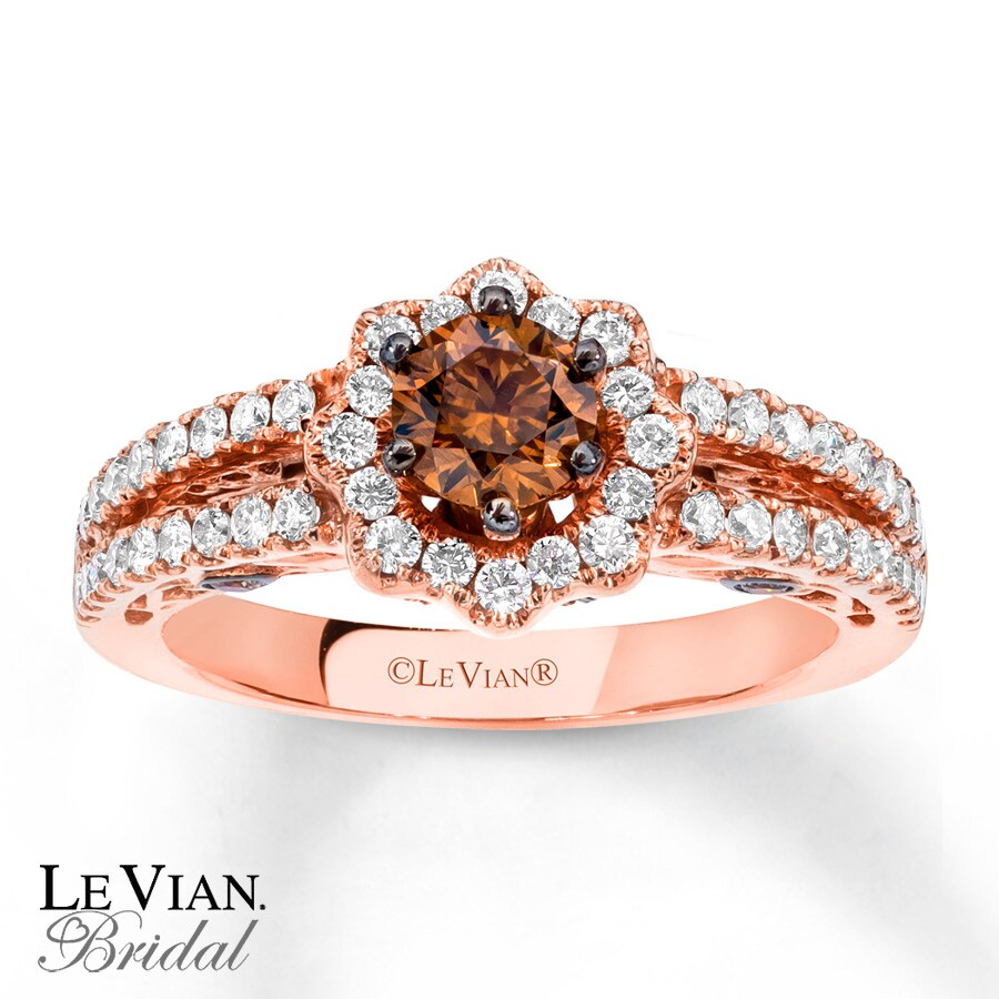Kay LeVian Chocolate Diamonds 1 18 ct tw 14K Gold Engagement Ring
