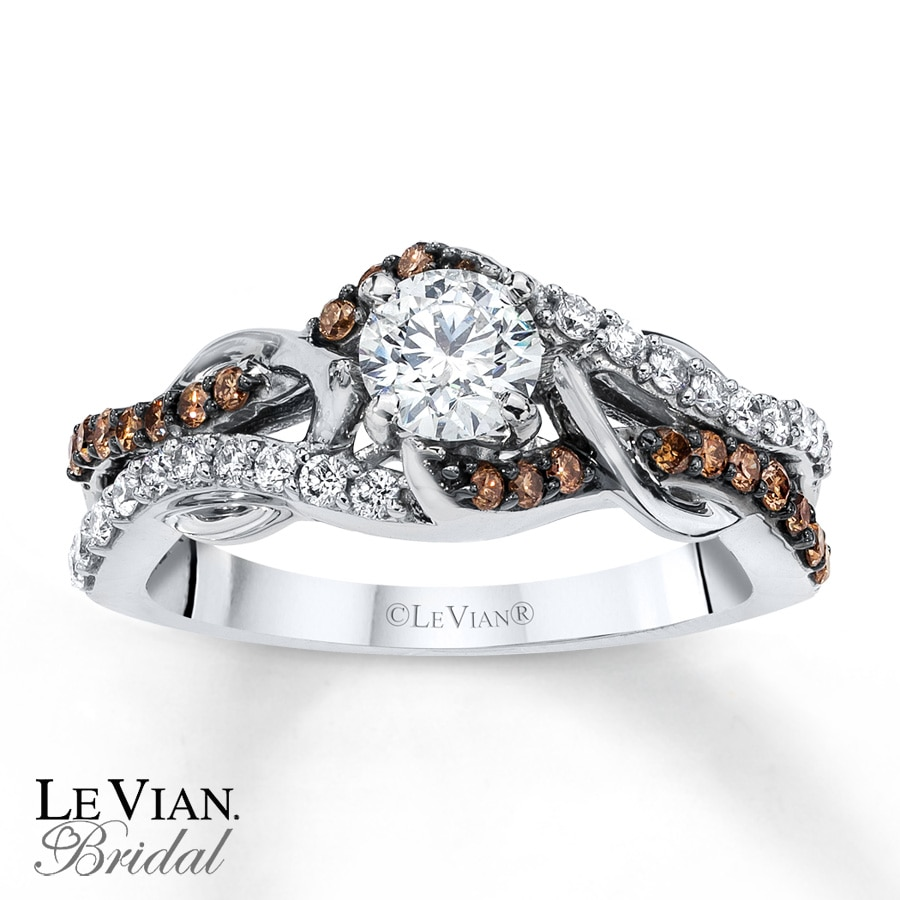 kay levian chocolate diamonds 3 4 ct tw enement ring 14k gold - Chocolate Diamond Wedding Ring