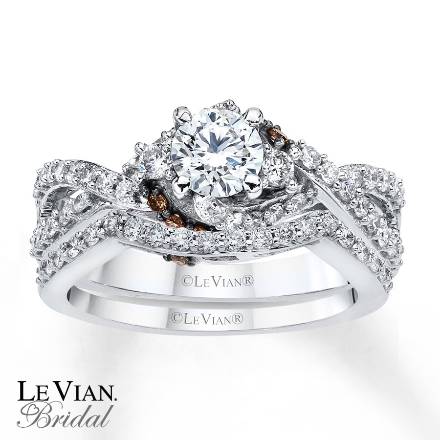 le in gold ct engagement white chocolate diamond wedding rose vian tw and ring media set t rings w