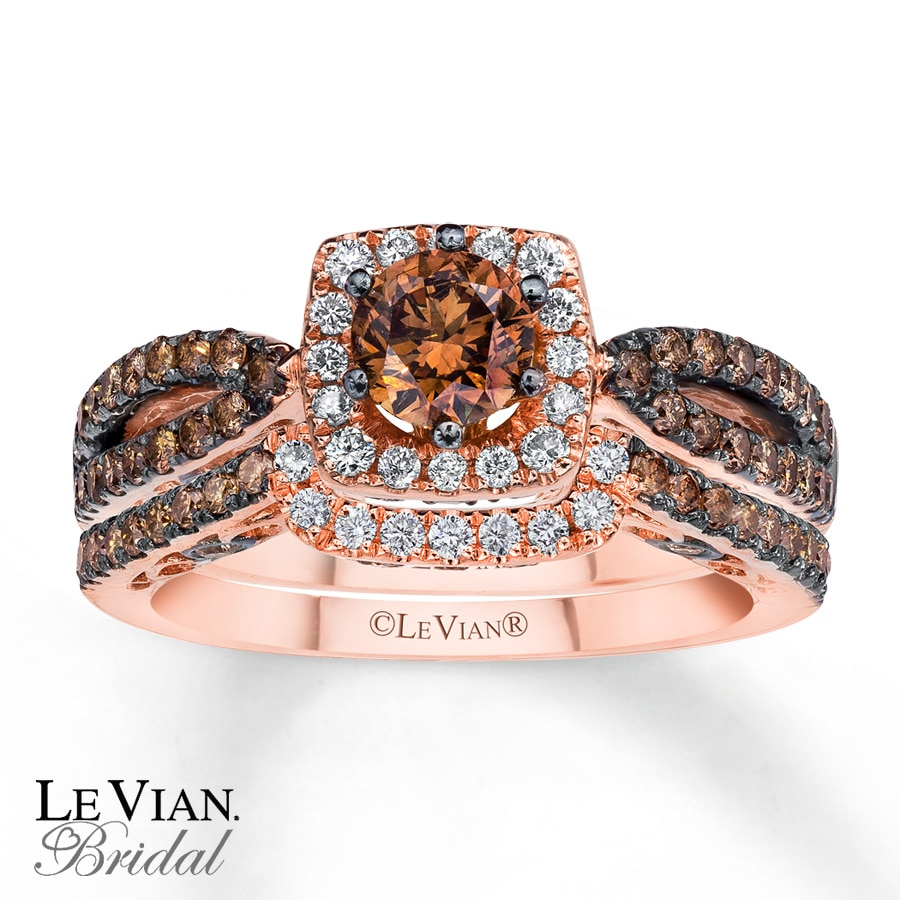 Levian Chocolate Diamonds 1 3 8 Ct Tw Bridal Set 14k Gold