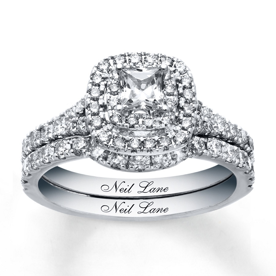 kay - neil lane bridal set 1-1/3 ct tw diamonds 14k white gold