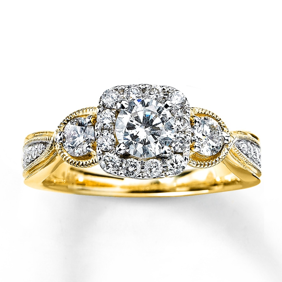 Wedding Rings Kay: Diamond Engagement Ring 1 Ct Tw Round-cut 14K Yellow Gold