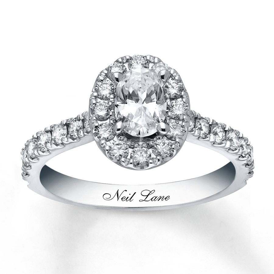 kay - neil lane engagement ring 1-1/2 ct tw diamonds 14k white gold
