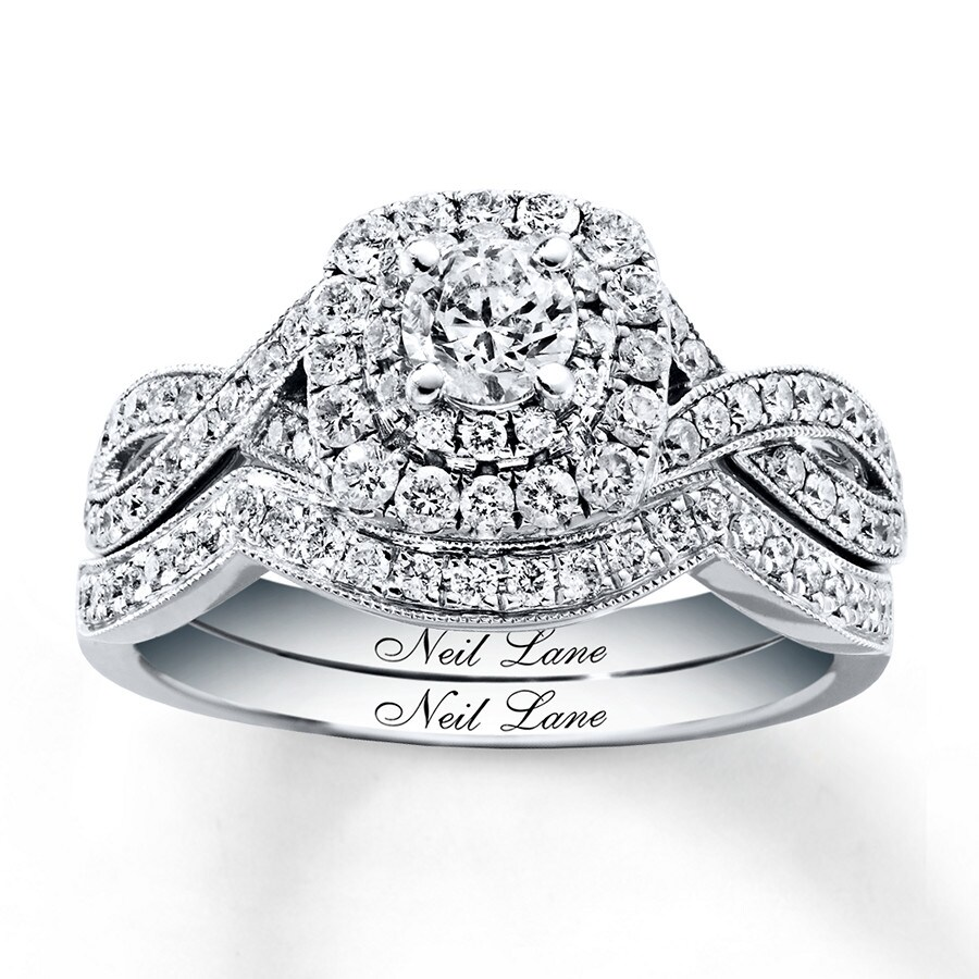 kay - neil lane bridal set 7/8 ct tw diamonds 14k white gold