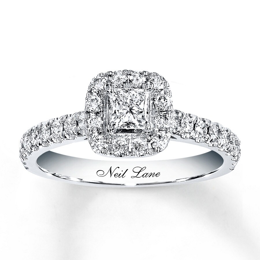 Neil Lane Engagement Ring 7/8 Ct Tw Diamonds 14K White