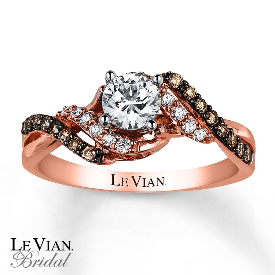 Kay  Le Vian Engagement Ring 3/4 ct tw Diamonds 14K Strawberry Gold