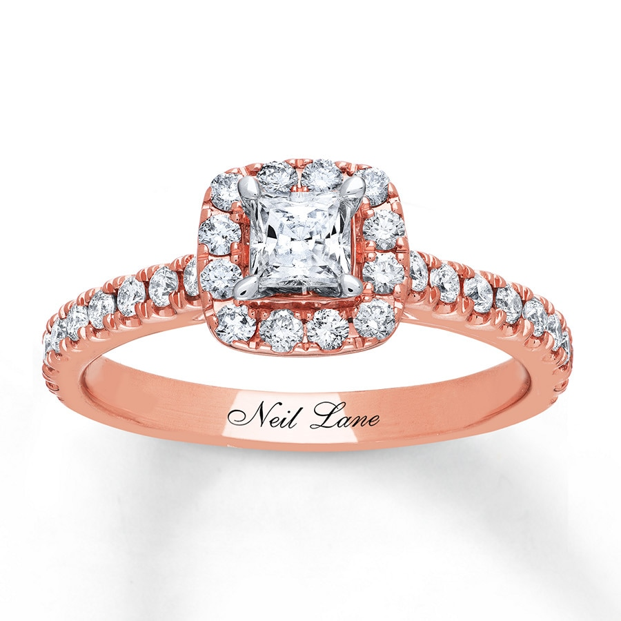 kay - neil lane engagement ring 3/4 ct tw diamonds 14k rose gold