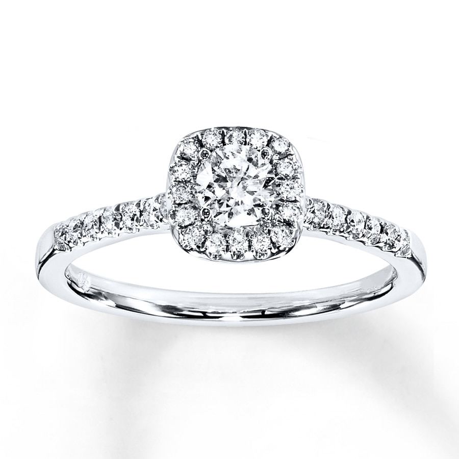 Diamond Engagement Ring 3/8 ct tw Round-cut 10K White Gold ...