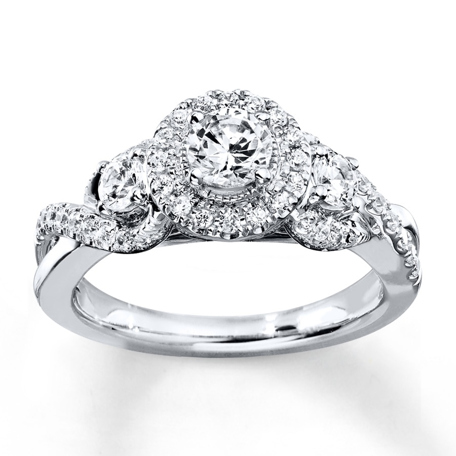 Kay Diamond Engagement Ring 7 8 ct tw Round cut 14K White Gold