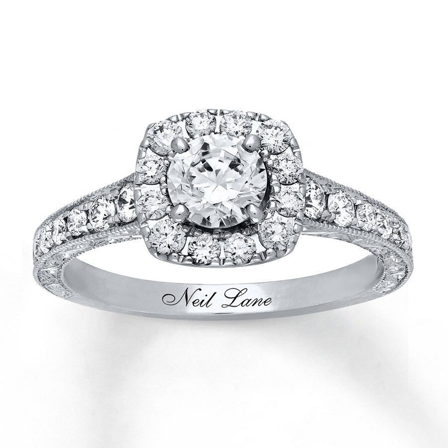 kay - neil lane engagement ring 1-1/6 ct tw diamonds 14k white gold