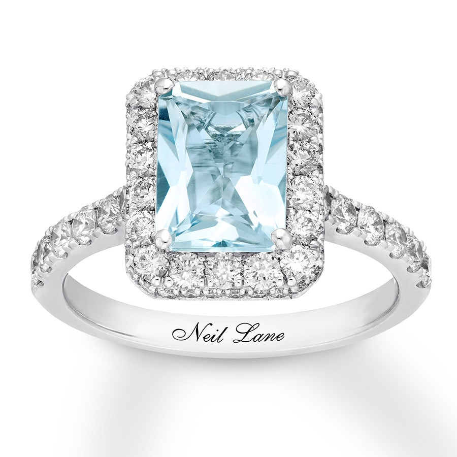 aquamarine alternative k rings engagement ring natural debac rose gold
