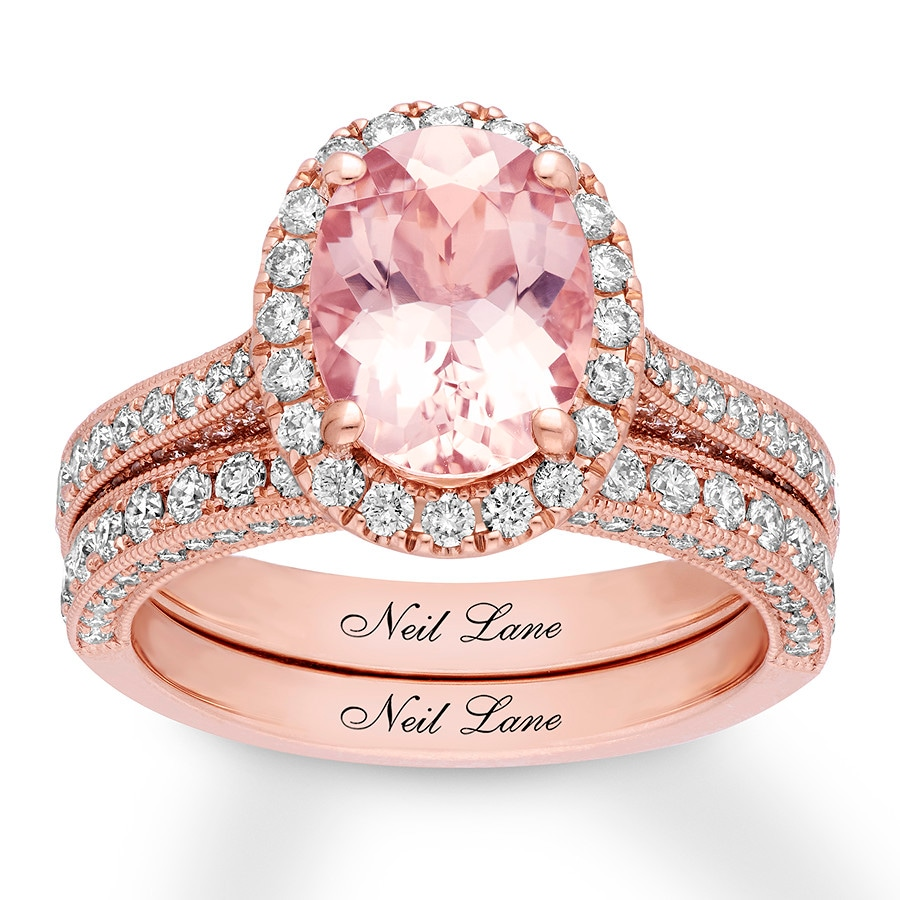 Neil Lane Morganite Bridal Set 1-1/6 ct tw Diamonds 14K Gold