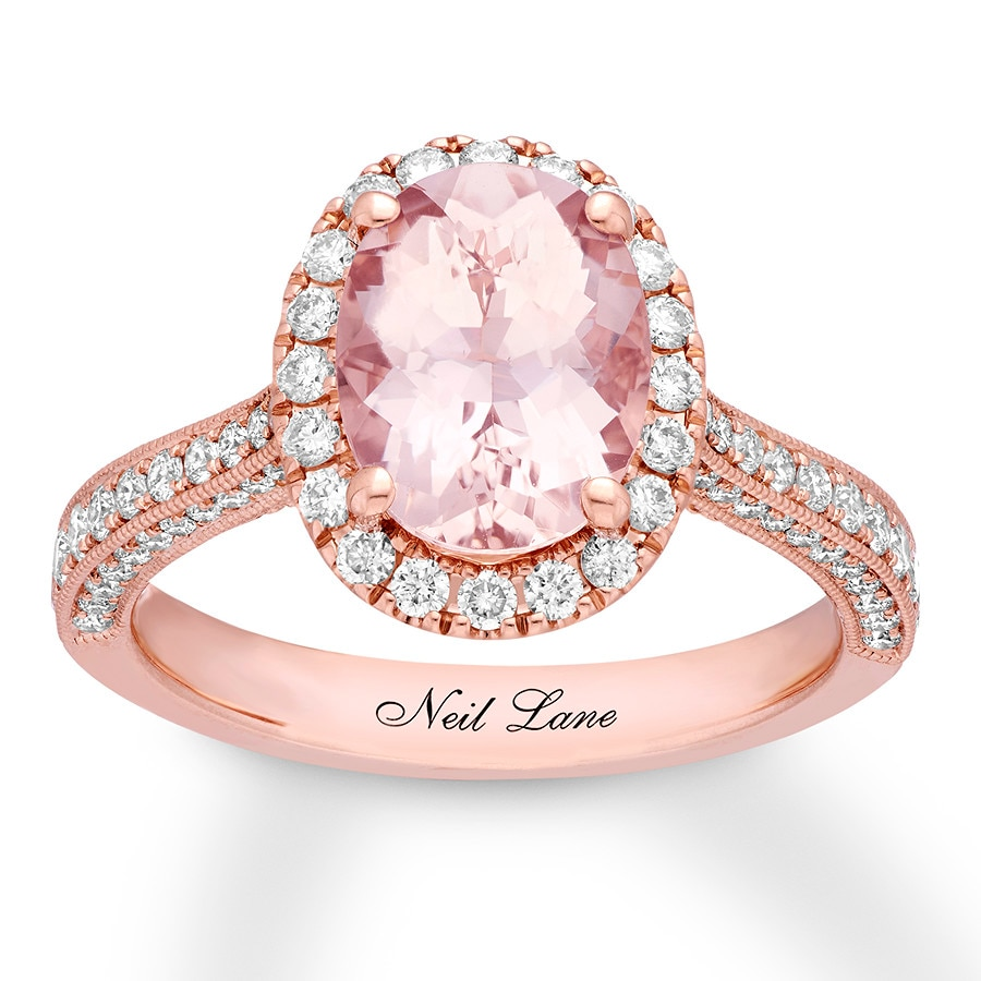 Kay - Neil Lane Morganite Engagement Ring 3/4 ct tw Diamonds 14K Gold