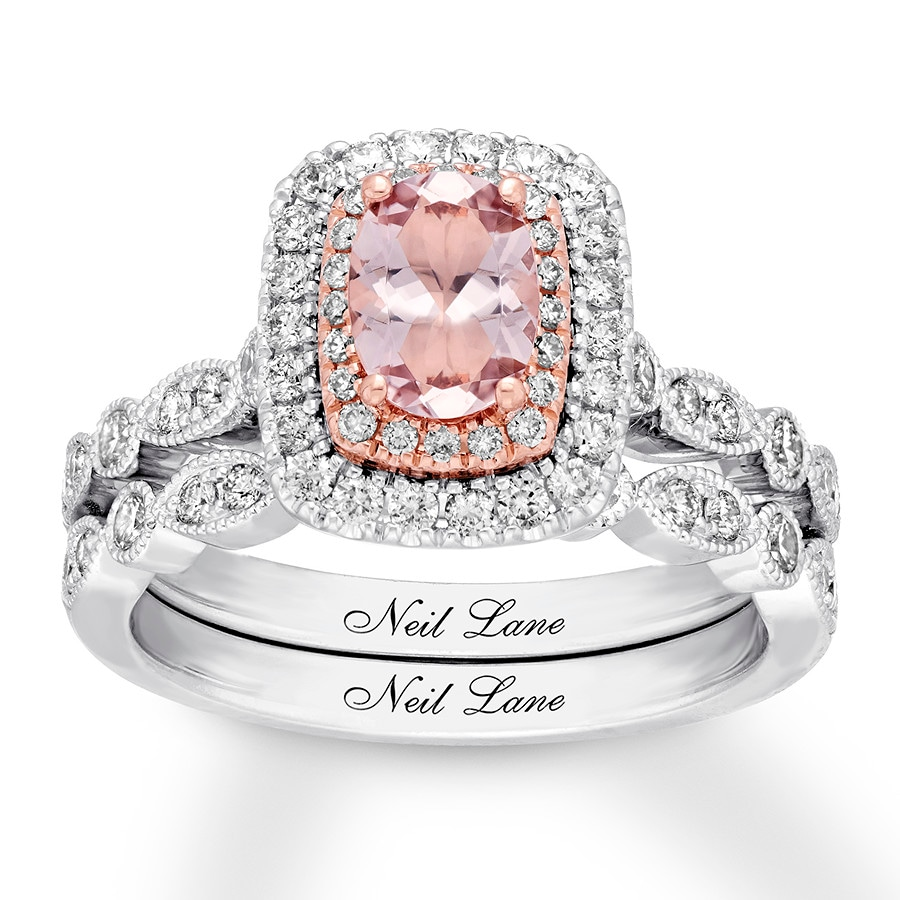 Neil Lane Morganite Bridal Set 3 4 Ct Tw Diamonds 14k Gold