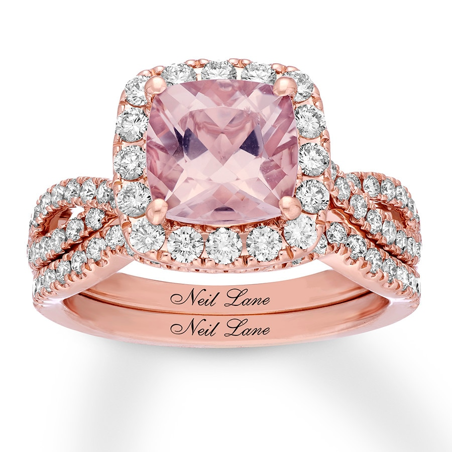 Kay - Neil Lane Morganite Bridal Set 1 ct tw Diamonds 14K Rose Gold