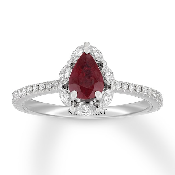 Neil Lane Ruby Engagement Ring 3 8 Cttw Diamonds 14k White Gold Kay