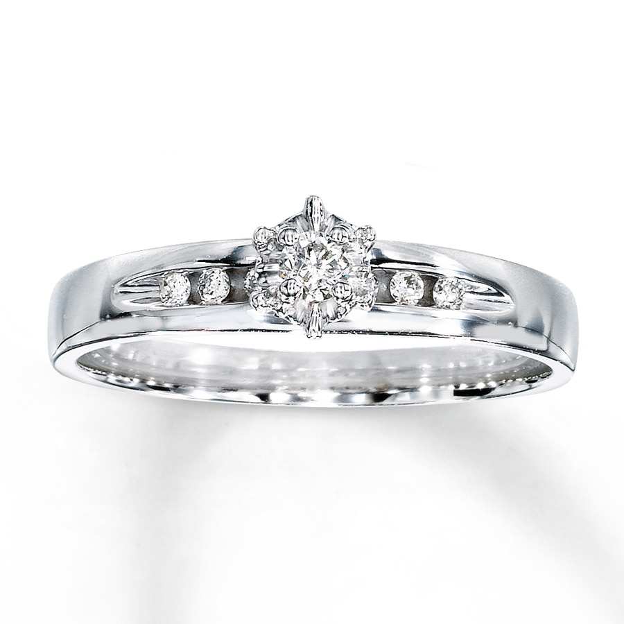 Kay Diamond Engagement Ring 110 ct tw Roundcut 10K White Gold
