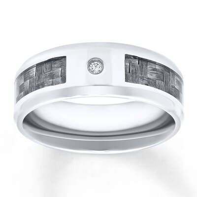Mens Wedding Band Diamond Stainless Steel 8mm