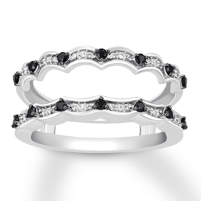 Black & White Diamond Enhancer Ring 1/3 ct tw 14K White Gold