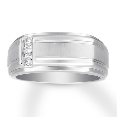 Mens Diamond Wedding Band 1/10 ct tw Round-cut 10K White Gold