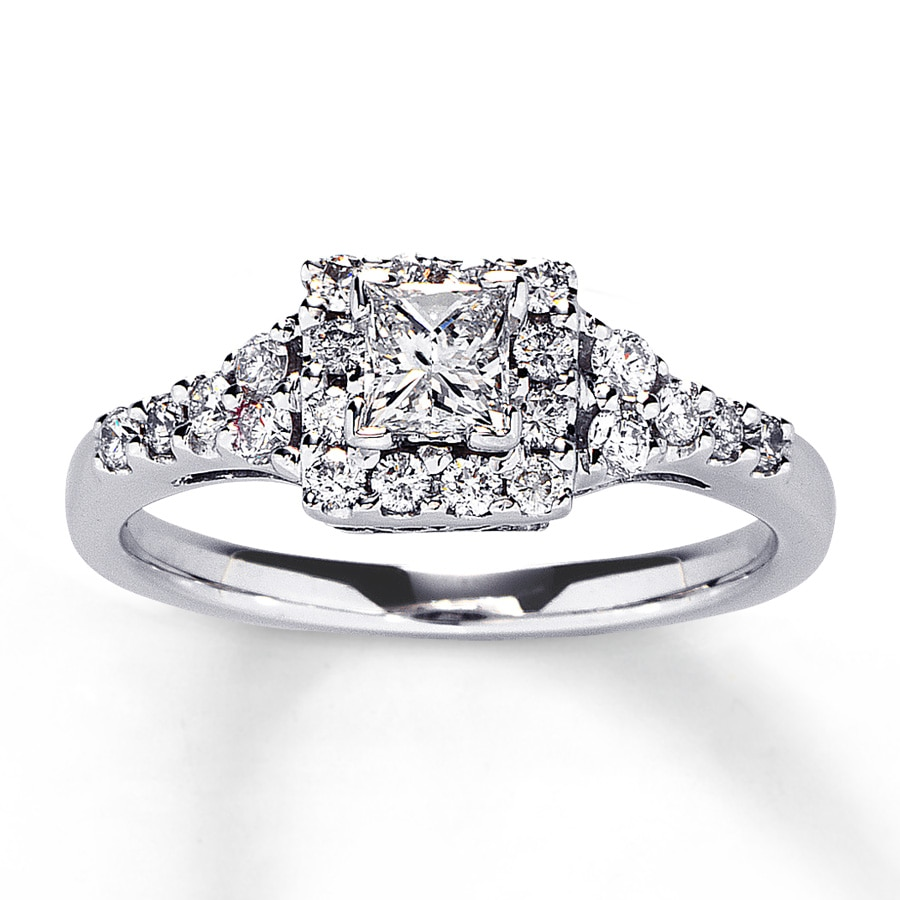 Diamond Engagement Ring 3/4 Ct Tw Princess-cut 14K