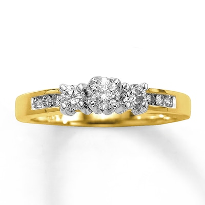 Three-Stone Diamond Ring 1/2 ct tw Round-cut 14K Yellow Gold Kay Jewelers