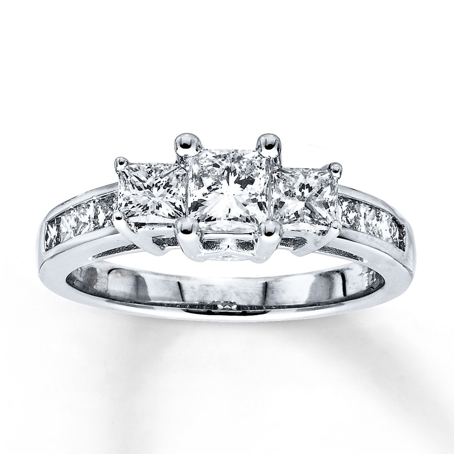 Email 3-Stone Diamond Ring 1 12 ct tw Princess-cut 14K White Gold