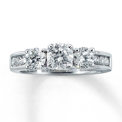 Three-Stone Diamond Ring 1-1/2 ct tw Round-cut 14K White Gold Kay Jewelers
